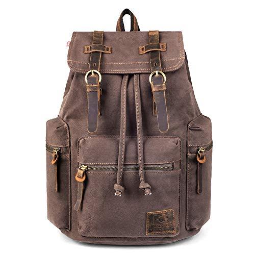 Canvas Vintage Backpack, PKUVDSL Mens Rucksack for Travel Adventure Bookbag