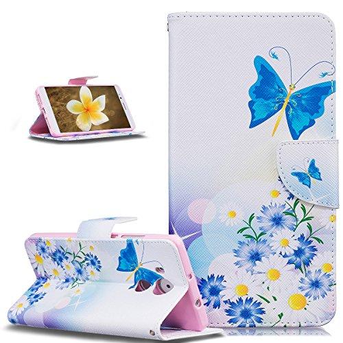 Kompatibel mit Huawei Mate 8 Hülle,Malerei Blumen Schmetterling Bär PU Lederhülle Flip Hülle Cover Schale Ständer Wallet Hülle Schutzhülle für Huawei Mate 8,Blauer Schmetterling Gänseblümchen Blumen