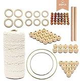Set de algodón macramé, 3 mm x 200 m, hilo de algodón, hilo de macramé, para colgar en la pared, macramé, macramé, macramé, con accesorios de macramé, juego de manualidades (beige)