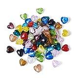 Cheriswelry, 200 piezas hechas a mano de lámina de plata con forma de corazón de cristal suelto, abalorios espaciadores de colores mezclados al azar para hacer pulseras de joyería, agujero: 2 mm