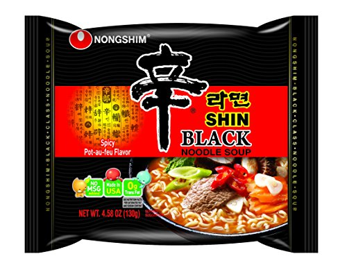NongShim Shin Black Noodle Soup, Spicy, 4.58 (Pack of 18)