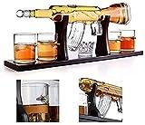 Decantador de vino de cristal hecho a mano, Decantador de vino de cristal de cráneo y gafas Set 1000ml m16 pistola de gafas de bala de decantación grande, decantador de whisky de rifle elegante con 4