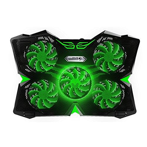 Ocamo Soporte de refrigeración para laptop de juegos de 12' - 17', 5 ventiladores y luces LED, doble puerto USB, altura ajustable a 1400 RPM verde