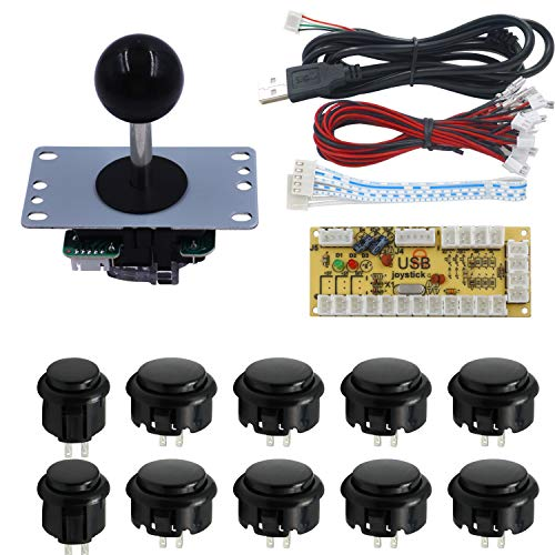 SJJX Zero Delay Arcade DIY Kit Parts USB Encoder to PC Joystick 5Pin Rocker + 10pcs Black Push Buttons 822a blac