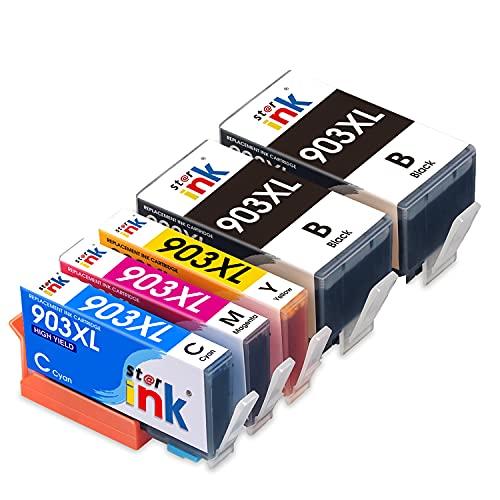 Starink 903XL Cartouches d'encre compatibles avec HP 903 903XL pour HP OfficeJet 6950 HP OfficeJet Pro 6960 6970 (2 Noires, 1 Cyan, 1 Magenta, 1 Jaune)