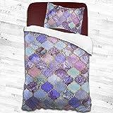 Royal Purple Mauve Indigo - Juego de edredón de azulejos marroquíes para cama de matrimonio y 1 funda de almohada de 55 x 83 pulgadas