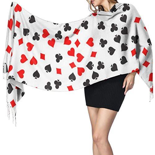JONINOT Damenmode Long Shawl Red Casino Glücksspiel Poker Chips Kaschmirschal Winter Warmer großer Schal Geschenkbox