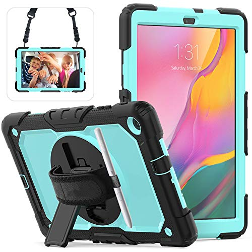 Galaxy Tab A 10.1 Case 2019 with Screen Protector, Herize High Impact Resistant Drop Proof Armor Protective Case with Hand Strap/Shoulder Strap/Rotable Stand Kids Case for SM-T510/T515 Tablet-SkyBlue