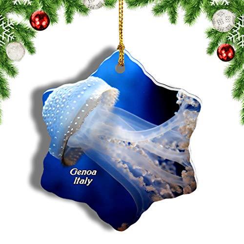 Weekino Italien Aquarium von Genua Weihnachten Anhänger Baum Weihnachtsdeko Baumschmuck zum Hängen Reiseandenken