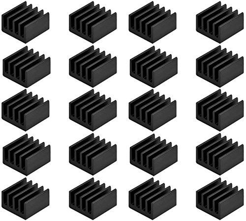 Easycargo 20pcs Small Mini Heatsink Kit + Thermal Conductive Adhesive Tape, Mini Cooler Aluminum...