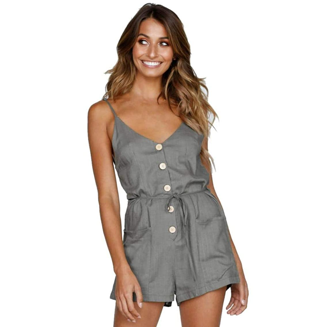 GWshop Sexy Jumpsuits, Fashion Jumpsuits,Women Summer Sexy V-Neck Pocket Bandage Button Down Rompers Backless Short Bodysuits