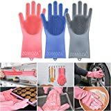 Luvina Magic Silicone Scrubbing Gloves, Scrub Cleaning Gloves with Scrubber for Dishwashing