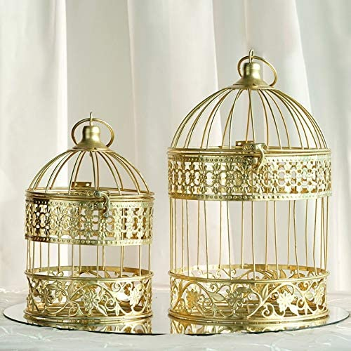 Efavormart 2 Sets of Large Metallic Gold Bird Cage Wedding Centerpiece Table Party Decor All product image