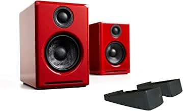 Audioengine A2+ Limited Edition Premium Powered Desktop Speaker Package (Red) with DS1 Desktop Speaker Stands