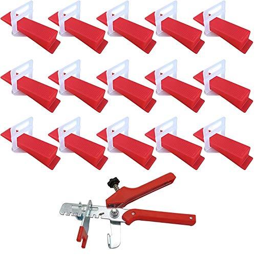 Gaoominy 401 Piezas Sistema de NivelacióN de Azulejos 2Mm 300 Piezas Clips + 100 Piezas CuuAs + 1 Pieza Alicates de PláStico Herramientas para Azulejos Espaciador de Azulejos