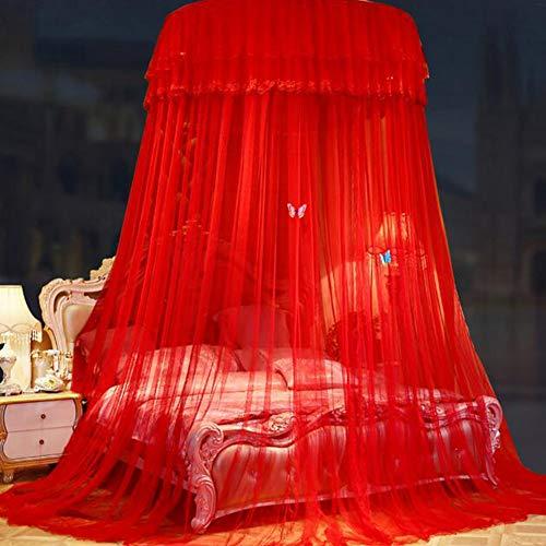 YONG Moskitonetz Bett,Mückennetz für Reise und Zuhause, für Doppelbett & Einzelbett, Ideal für Reisen, Camping, Hochzeit,1 Einträge, einfache Installation(Rot)