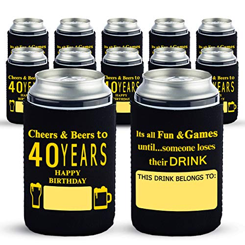 Yangmics Direct 40 Birthday Can Cooler Sleeves Pack of 12- Dirty 40 Birthday Party Supplies - Black and Gold Fortieth Birthday Cup Coolers