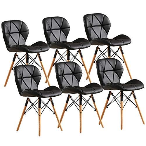 zyy Esszimmerstühle 6 Stück Retro Esszimmerstühle Essstühle Natürlicher Feststoff Hölzerne Beine Butterfly Rückenlehne Gepolsterter Sitz Küchenstuhl for Office Lounge Dining (Color : Black)
