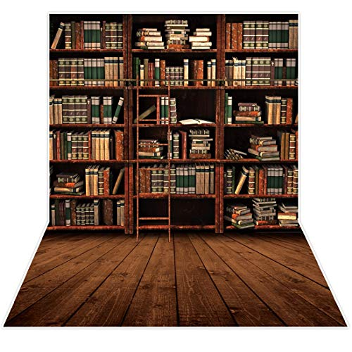 Allenjoy 5x7ft Vintage Bookshelf Backdrop Library Retro Bookcase Ladder Wood Floor Photography Background for Students Teachers Online Teaching Back to School Decor Banner Portrait Photo Booth Props