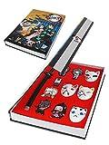 CoolChange Caja de colección de Joyas de Kimetsu No Yaiba con 4 máscaras, 4 Figuras Chibi, 1Katana/ ...