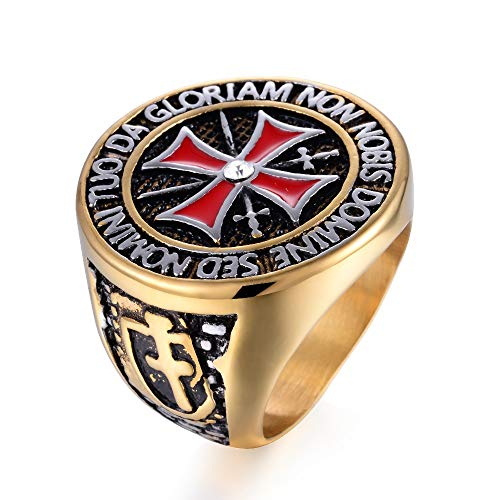FLQWLL Anillo Cruz Roja Diamante Acero Inoxidable Hombres Y Mujeres Retro Caballero Templario Anillo Oro/Plata,Oro,15