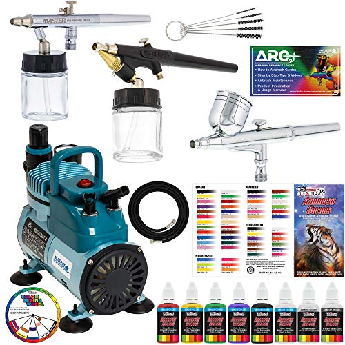 G25 E91 Master Airbrushes /& TC-20 Air Compressor Guide Booklet /& Chart 6 Primary Colors US Art Supply Paint Set Professional 3 Airbrush System Kit with G22 Color Mixing Wheel
