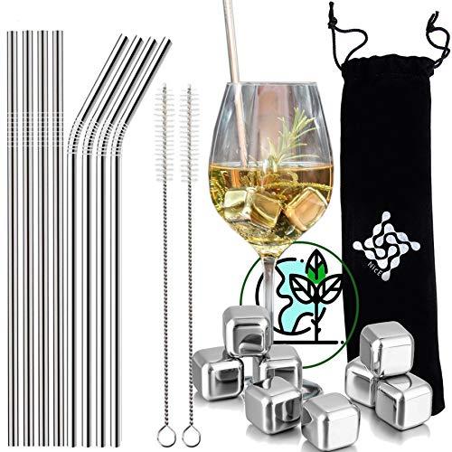 Cocktail Set, Strohhalme und Eiswürfel aus Metall, hochwertiger Edelstahl, als Zubehör oder Geschenk