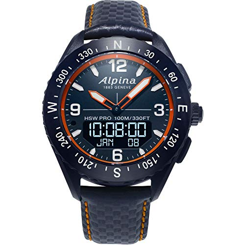 Alpina Men's AlpinerX Fiber Glass Swiss Quartz Sport Watch with Leather Calfskin Strap, Blue, 22 (Model: AL-283LNO5NAQ6L)