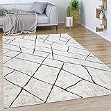 Paco Home Teppich Wohnzimmer Kurzflor Vintage Modernes Marmor Rauten Muster Beige Grau, Grösse:120x170 cm