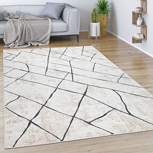 Paco Home Teppich Wohnzimmer Kurzflor Vintage Modernes Marmor Rauten Muster Beige Grau, Grösse:80x150 cm