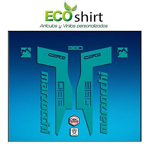 Ecoshirt 1X-UPL3-L4ZN Autocollants Fork Marzocchi 380 C2Rc Am71 Aufkleber Decals Autocollants Fourcela Gabel Fourche (Turquoise