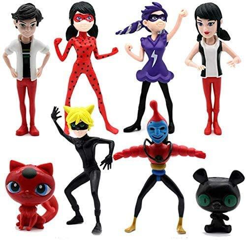 SunnyHome 8 pcs Ladybug Action Figure - Ladybug and cat Noir Miraculous Action Figures - Miraculous Ladybug Toy Set Minifigures - Ladybug Tikki Dolls 8 Set – Miraculous Toys
