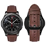 MroTech Correa Cuero Compatible con Huawei Watch GT 2/GT 46mm Sport/Classic/Active/Elite/GT2 Pro/GT 2e Pulsera Repuesto para Samsung Gear S3 Frontier/Classic/Galaxy Watch 46mm Banda 22mm-napa Marrón