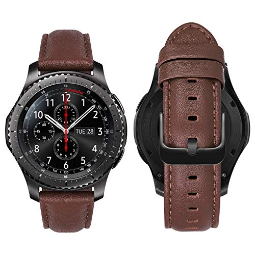 MroTech 22mm Bracelet Compatible avec Huawei Watch GT 46mm/GT2 Pro/GT 2e Bande en Cuir de Rechange pour Bracelet Samsung Gear S3 Frontier/Classic/Galaxy Watch 46 mm Montre Sangle-Nappa Souple Marron
