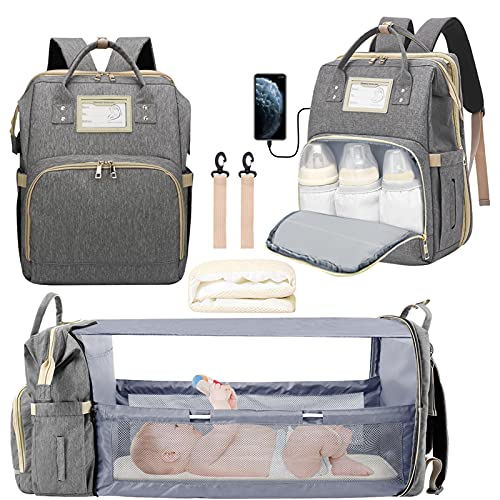 3 in 1 Diaper Bag Backpack, Foldable Travel Baby Bag with Changing Station, Portable Mommy Backpack with USB Charging Port Baby Backpack Organizer...