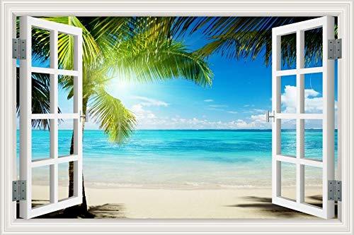 Summer Beach Sunshine Coconut Tree palm sunrise sunset sky sea clouds Paisaje paisaje Art Decal 3D Window view PVC Wall Sticker decoración del dormitorio Mural poster