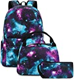 Pawsky Waterproof Galaxy Canvas Backpack Set Fits 14' Laptop Backpack Daypack College School Bookbag with Lunch Box and Pencil Case