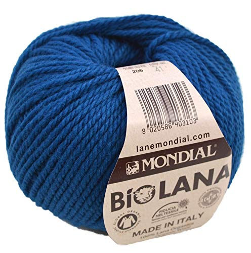 Lane Mondial Bio Lana BioLana Naturwolle Fb. 206 - Kobalt, 50g Organic Wool, Biowolle, 100% Reine Schurwolle zum Stricken und Häkeln