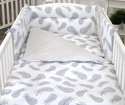 5 Piezas Juego de Cama para bebé Protector Edredón Ropa de Cama para Cuna 120 x 60 cm Plumas Grises