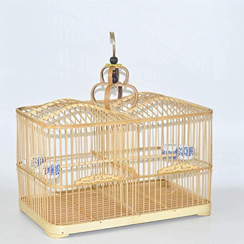 XWYGW Perrera Bambú del diseño del pájaro del Espacio Jaula de pájaros Duradero Vuelo Breeding Bird Cage Bird excursión Paquete Maleta Hábitat for Las Aves, Conveniente for los Loros pequeños pájaros