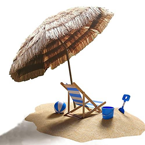 OOOMG Parasol De Paja 2 M Sombrilla De Playa Portátil De 45 ° Sombrilla De Jardín Inclinable Sombrilla De Estilo Tropical Hawaiano