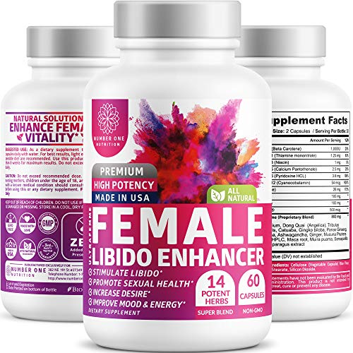 N1N Female Enhancement Pills - [14 Potent Herbs], Natural Mood & Energy Booster for Women, Balance Hormones, Horny Goat Weed, Ginseng, Maca Root, Dong Quai, PMS & Menopause Relief, 60 Veg Caps