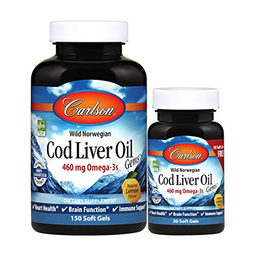 Carlson - Cod Liver Oil Gems, 460 mg Omega-3s + Vitamins A & D3, Wild-Caught Norwegian Arctic Cod Liver Oil, Sustainably Sourced Nordic Fish Oil Capsules, Lemon, 150+30 Softgels