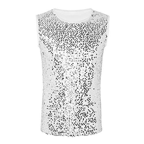 TiaoBug Herren Tank Top ärmellos Slim fit T-Shirts Stylische Weste Muskelshirt Glänzend Oberteil Unterhemd Party Shirt Clubwear Kostüm Silber Pailletten L