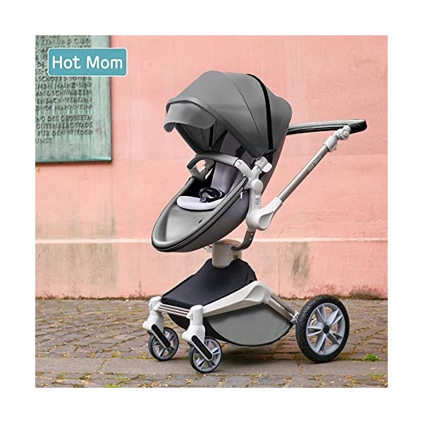 Hot Mom Pushchair 360 Rotation Function Baby Carriage Pu Leather Folding Portable Shockproof Travel System Pushchair Pram 2020(Dark Grey) HOT MOM 【360°ROTATION FUNCTION】 - The robust stroller frame can rotate 360°so that the pushchair attachments can be adjusted faster in both directions with one click.you can enjoy the mobility, flexibility and get the chance to discover the world with your baby 【INCREASE PU RUBBER WHEELS】 - The rear wheels use high-quality large tires, explosion-proof tires, puncture-proof, no inflation, front-wheel Pu rubber, non-slip, wear-resistant, with good shock absorption 【WATERPROOF PU LEATHER】 - Completely designed with Somatology Safety standard, 100% PU leather material of Egg Seat and Bassinet,High-grade waterproof,this perfect match feel more luxurious and fashionable and easy to clean.it can be easily cleaned with a wet wipe 6