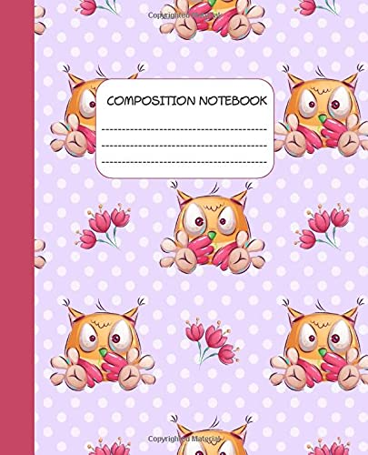 KOOKY OWL COMPOSITION NOTEBOOK: WIDE RULED LINED PAGE NOTEBOOK JOURNAL, cartoon owl design for girls teens kids students, ideal for elementary school & college writing, note-taking & homework