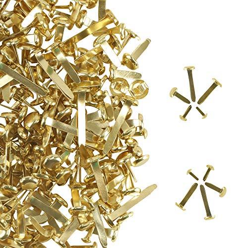 AILANDA 500 PCS Sujetadores de Papel Clavos de álbum de Recortes Chapados en Latón Mini Clavos Clavijas de Metal Redondas para álbum de Fotos Scrapbooking Fabricación de Tarjetas Artesanales