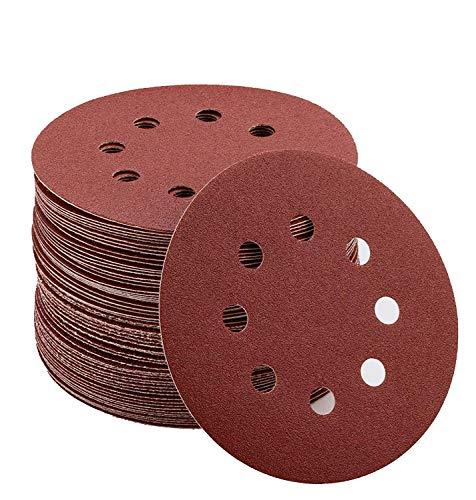 Papel de Lija de 80 Piezas 40, 80, 120, 240, 320, 400, 600, 800 Granos Surtidos 120mm Papeles de Lija Abrasivos con 8 Agujeros, Velcro Durable para Lijadora Excéntrica, Seco, Cambio Rápido