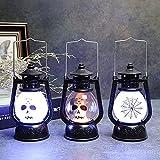 DSYADT 3 Piezas Linterna De Halloween Luz De Noche Portátil Lámpara De Aceite Pequeña Adorno Mueca Araña Impresión LED Linternas De Mesa Fiesta De Navidad Accesorios para El Hogar Regalo