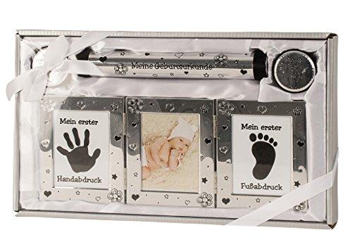 Set regalo per neonato, nascita, battesimo, impronta della mano, impronta del piede, cornice portafoto